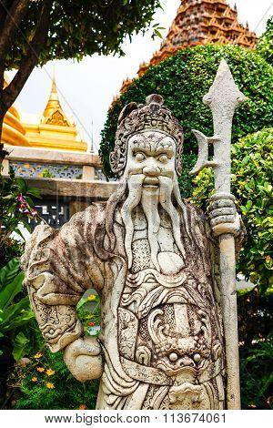 Stone Statue In Wat Phra Kaew Temple, Bangkok, Thailand