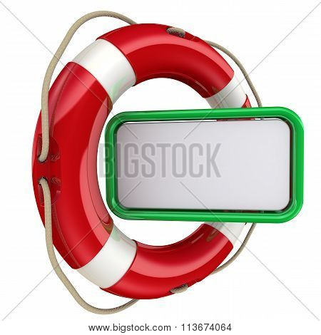 Text field in the lifebuoy