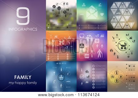 family infographic with unfocused background
