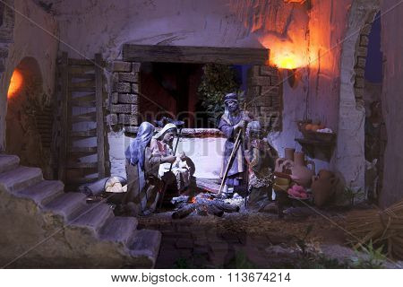 Shepherds Adoration. Christmas Manger