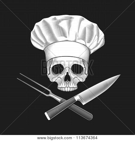 The skull in toque and crossed knife and fork