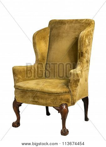 Old Original Antique Upholstered Wing Arm Chair  Isolated On Whi