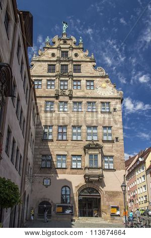 NUREMBERG, GERMANY - AUGUST 23,2015: The large late Renaissance merchant's house called Fembohaus is the municipal museum of Nuremberg