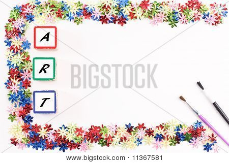 Art Background With Floral Confetti