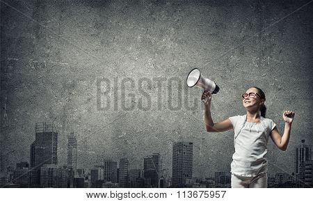 Kid with megaphone