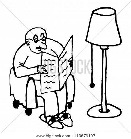 bald fat man sitting in a chair reading a newspaper under the lamp in the living comic  vector illus