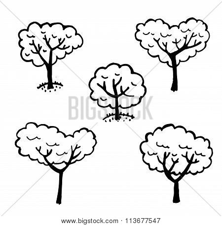 set of vector graphics elements isolated trees