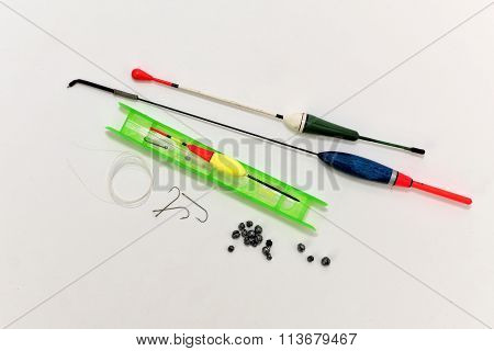 The Set Of Hooks, Sinkers And Fishing Line