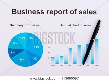 Chart and black handle. Financial operating report