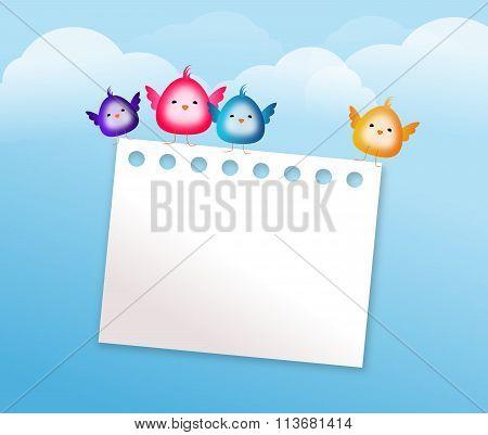 Cute Bird With Blank Paper Sheet