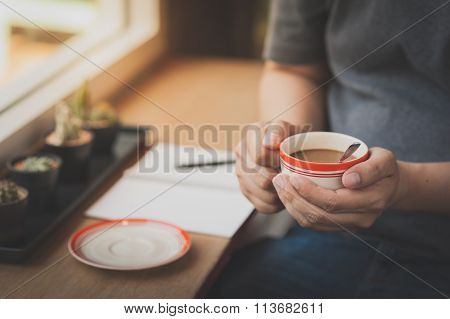 Coffee Cup In Male Hand