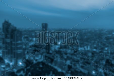 Blurred Background Of Night View In A Metropolis