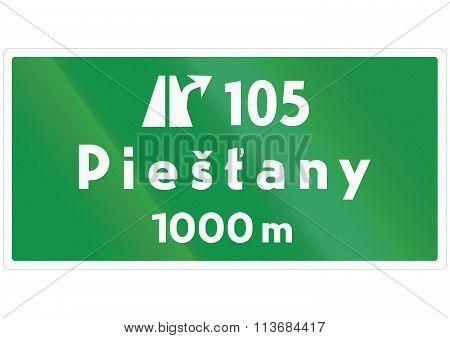 Road Sign Used In Slovakia - Motorway Exit