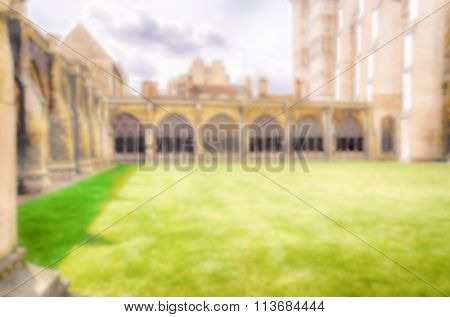 Defocused Background Of The  Cloister Of Westminster Abbey, London. Intentionally Blurred Post Produ