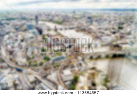 Defocused Backgroud With Aerial View Of London. Intentionally Blurred Post Production