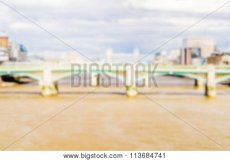 Defocused Background Of London And The River Thames. Intentionally Blurred Post Production