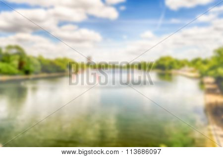 Defocused Background Over Hyde Park, London. Intentionally Blurred Post Production