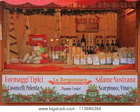 stand with products at the chrismas fair in Bergamo
