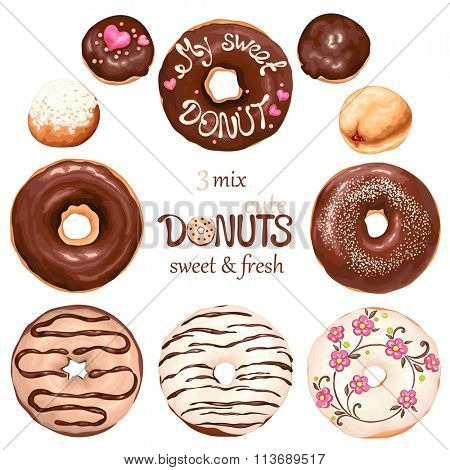 Collection of glazed colored donuts, vector 3 mix.
