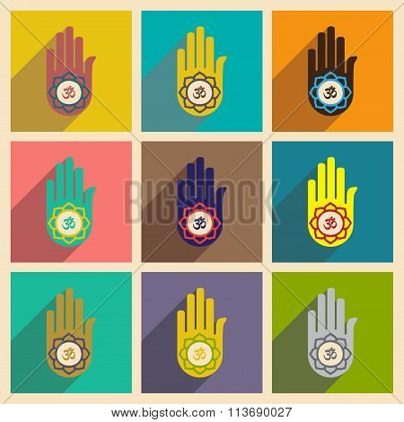 Modern flat icons collection with long shadow hand sign of om