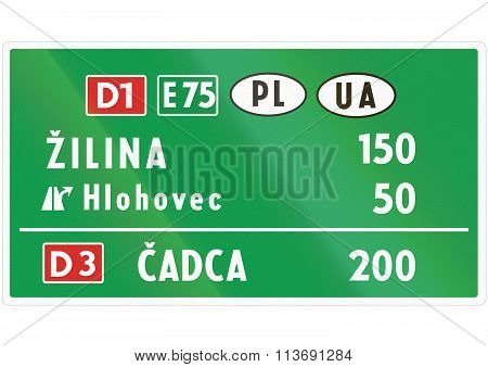 Road Sign Used In Slovakia - Motorway Distance Sign