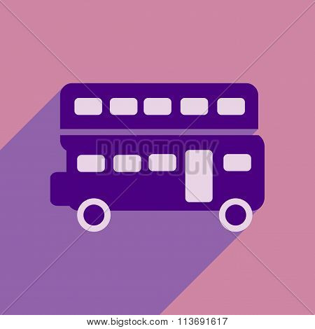 flat icon with long shadow double decker bus