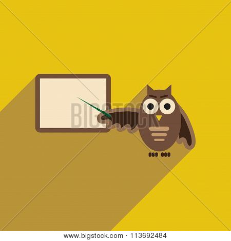 flat icon with long shadow owl teacher