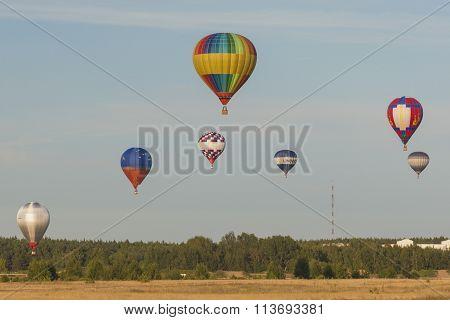 Minsk-belarus, July 19, 2015: Lots Of Air-balloons Participating In International Aerostatics Cup Ca