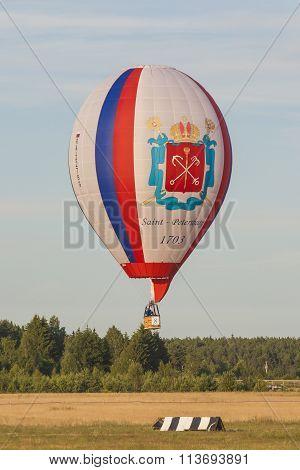 Minsk-belarus, July 19, 2015: Russian Air-balloon Team During Their Hit In International Aerostatics