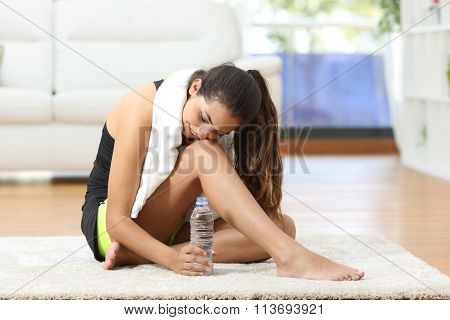 Tired Fitness Woman Resting After Sport