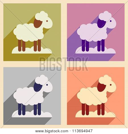 Set flat icons with long shadow Christmas lamb