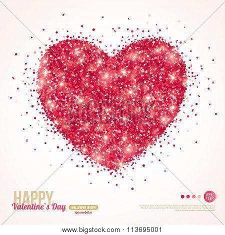 Sparkle Pink Glitter Valentines Day Heart.