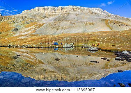 Symmetric View At The Mountain Lake, Caucasus