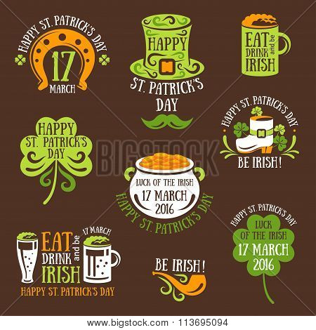 Happy St. Patrick Day Typography Emblems