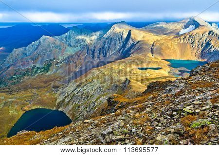 Several Mountain Lakes In The Caucasus