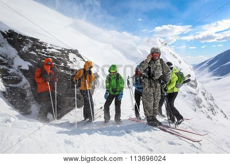 Tourists Caught In Bad Weather In The Mountains.