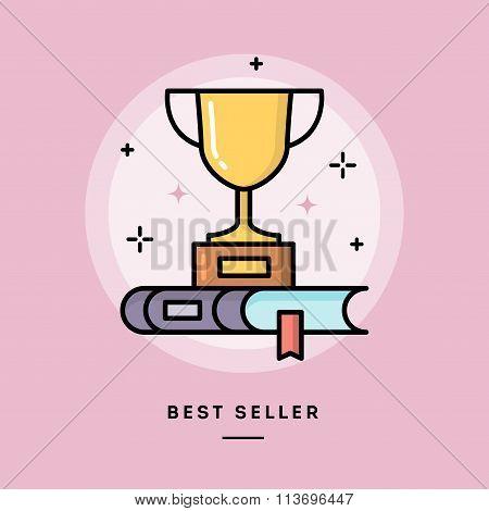 Best Seller Book, Flat Design Thin Line Banner