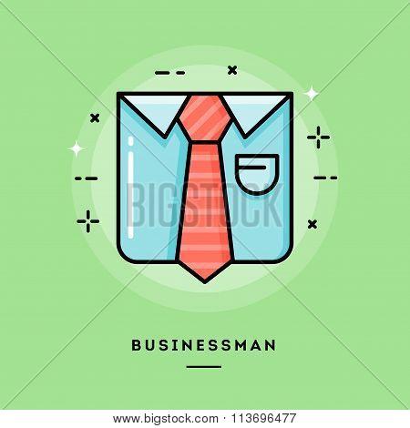 Businessman, Flat Design Thin Line Banner
