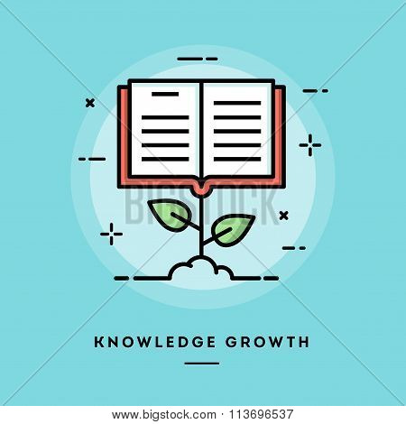 Knowledge Growth, Flat Design Thin Line Banner