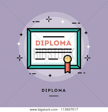 Diploma, Flat Design Thin Line Banner