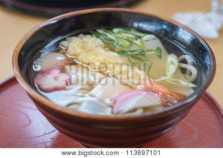 Closed Up Tempura Shrimp Udon, Japanese Food