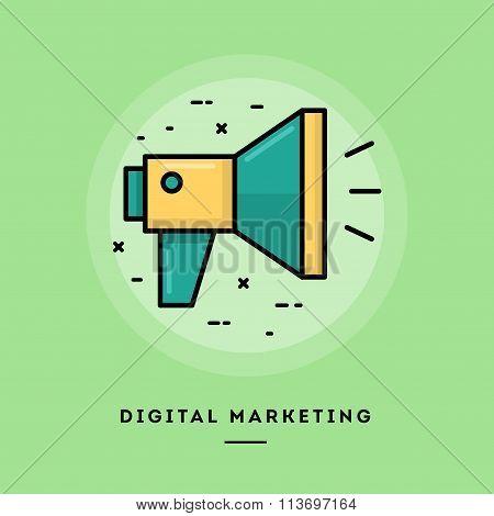 Digital Marketing, Flat Design Thin Line Banner