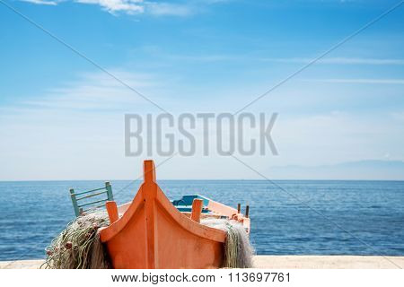 Fishing Boat On The Beach In Alexandroupolis, Greece