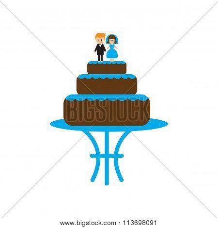 Flat web icon on white background - wedding cake
