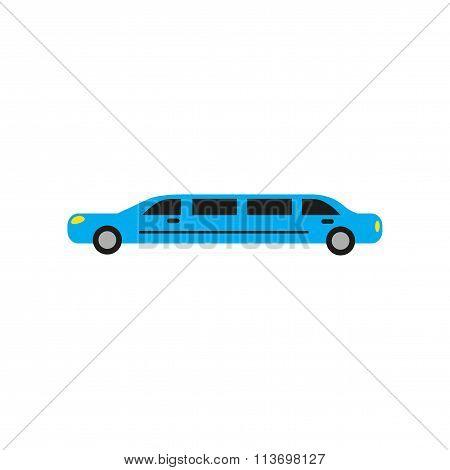 Flat web icon on white background - limousine