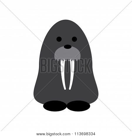 Flat web icon on white background walrus