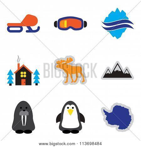 Set of flat web icons on white background Arctic