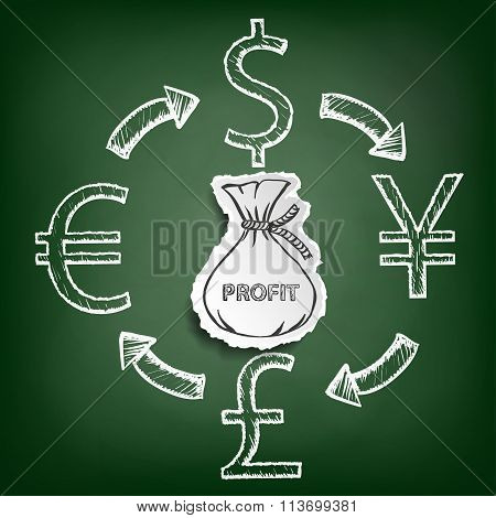 Diagram Currencies. Stock Illustration.