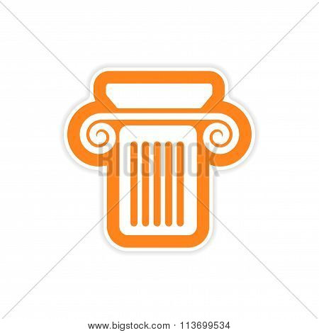 paper sticker on white background Greek column