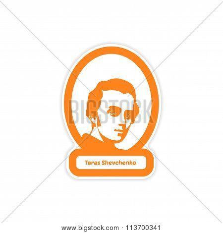 paper sticker on white background Taras Shevchenko